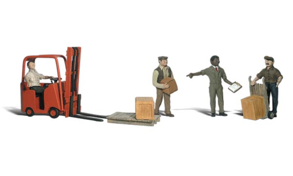 Workers with Forklift - N Scale