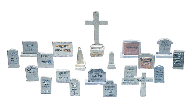 20 Tombstones HO Scale Kit