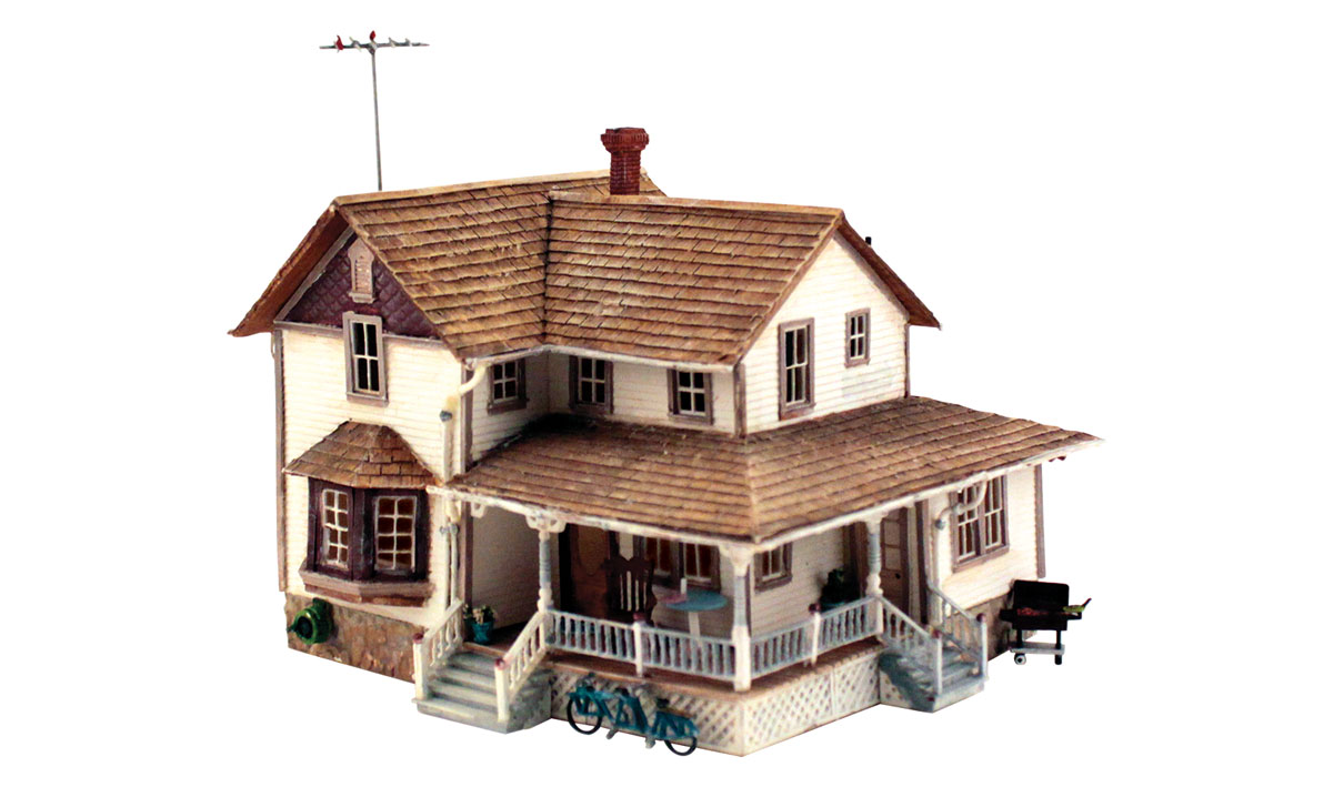 Corner porch house ho scale kit ho scale woodland for Porch building kits