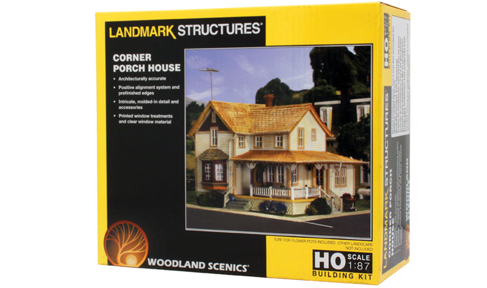 Corner Porch House Ho Scale Kit Woodland Scenics