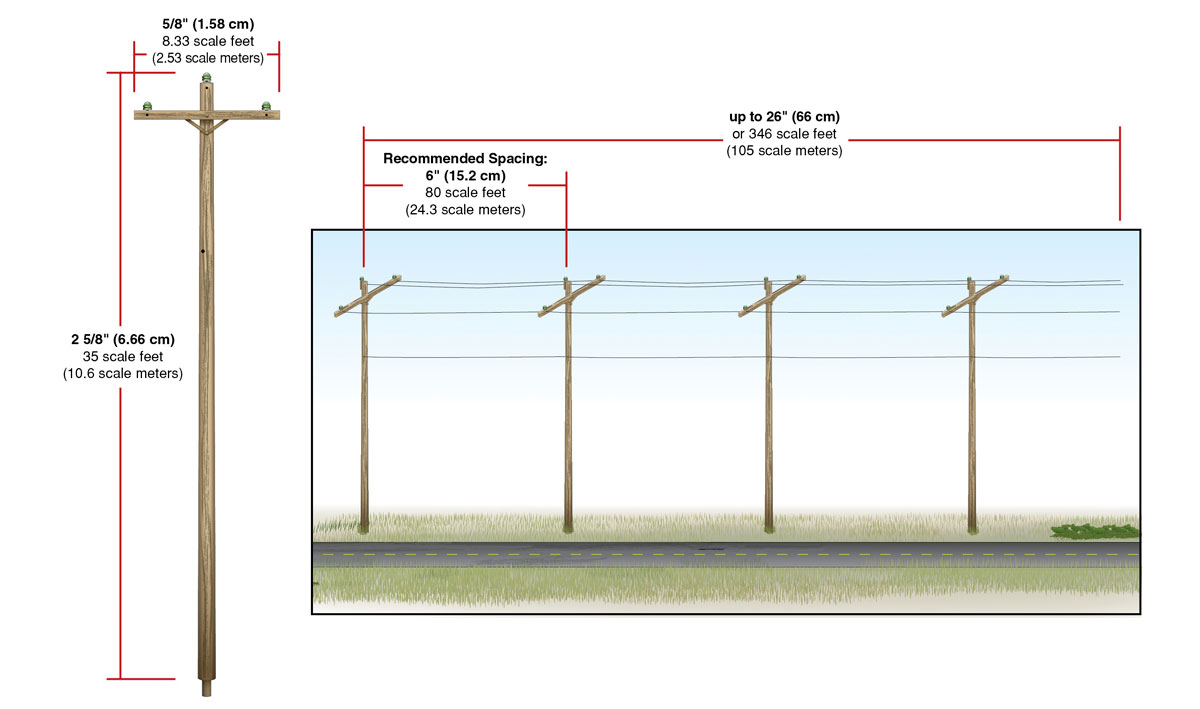Pre-Wired Poles - Single Crossbar - N Scale