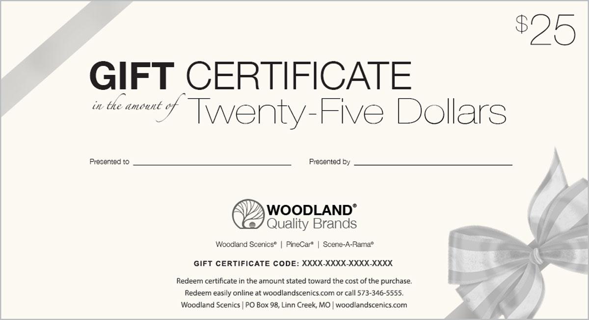 25 Gift Certificate Woodland Scenics